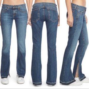 Rag & Bone Lottie Frayed Splits Hems Denim Jeans